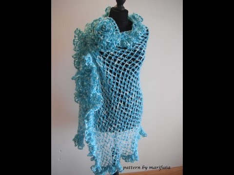 How to crochet elegant ruffle rectangle shawl free pattern video tutorial by marifu6a