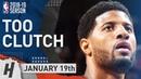 Paul George CLUTCH Full Highlights Thunder vs 76ers 2019.01.19 - 31 Pts, 5 Ast, 6 Reb, GAME-WINNER!