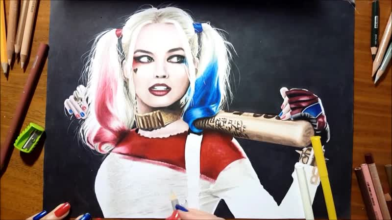 Speed Drawing- Margot Robbie as Harley Quinn - Jasmina Susak Desenho Arlequina drawing