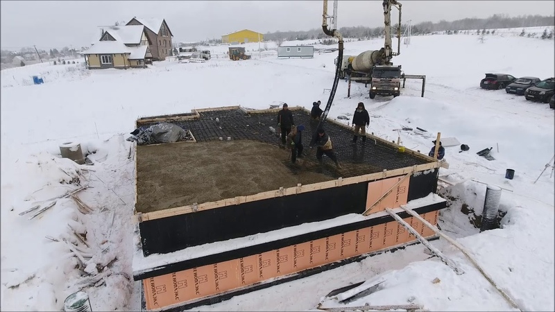 Фундамент, цокольный этаж, заливка бетона зимой