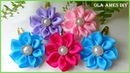 Заколка канзаши клик клак/Kanzashi Flower Hairclip/Tic tac Decorado com Flor de Fita/Ola ameS DIY