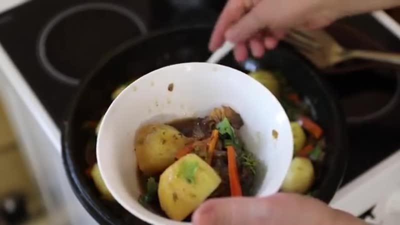 Свиные рёбрышки с картошкой по татарски в казане.Как сытно и вкусно накормить голодных мужиков (1)