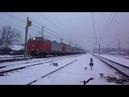 Раннее утро зимой в Нахабино и прибывающий электропоезд ЭД2Т