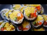 Как приготовить красивый корейский кимпаб с ветчиной и яйцами