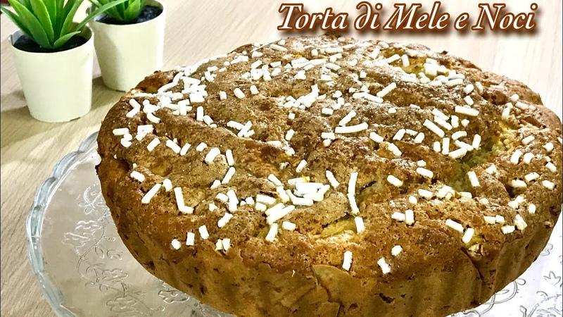 TORTA DI MELE E NOCI IN 5 MINUTI ricetta veloce senza impasto APPLE AND WALNUTS PIE Tutti a Tavola