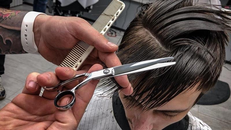 Как сделать плавный переход в мужской стрижке /Как сделать филировку челки