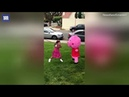 Hilarious moment little year girl furiously hits Peppa Pig piñata