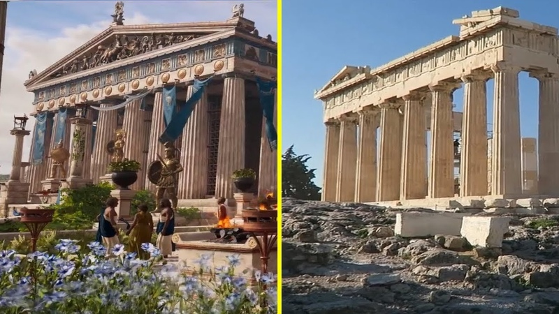 Assassins Creed Odyssey Game vs Real Life - Athens Landmarks Comparison