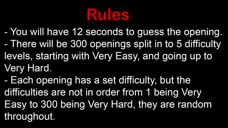 [Sarcasm317] Anime Opening Quiz - 300 Openings (Very Easy - Very Hard)