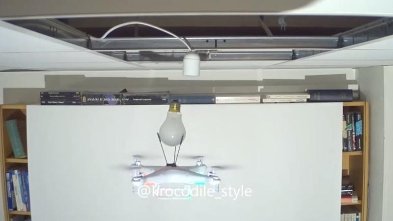 Замена лампочки дроном