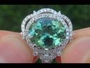 Certified Jewelry VVS Natural Blue Green Tourmaline Diamond 14k White Gold Ring GEM - A141712