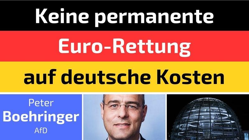 Peter Boehringer AfD Keine permanente Euro Rettung auf deutsche Kosten