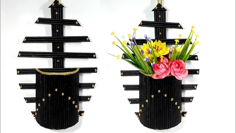 Homemade Wall hanging flower vase with paper very easy step by step show