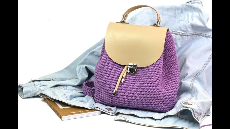Вязаный рюкзак из шнура