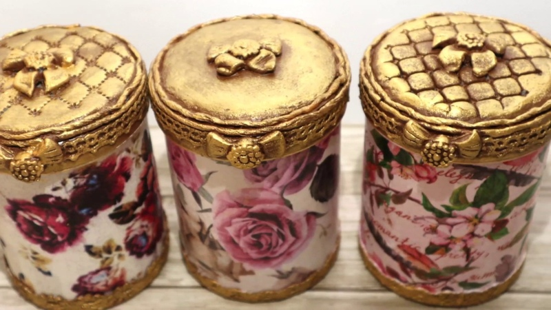 5 DIY decor Recycled plastic cans Decoupage of Cans