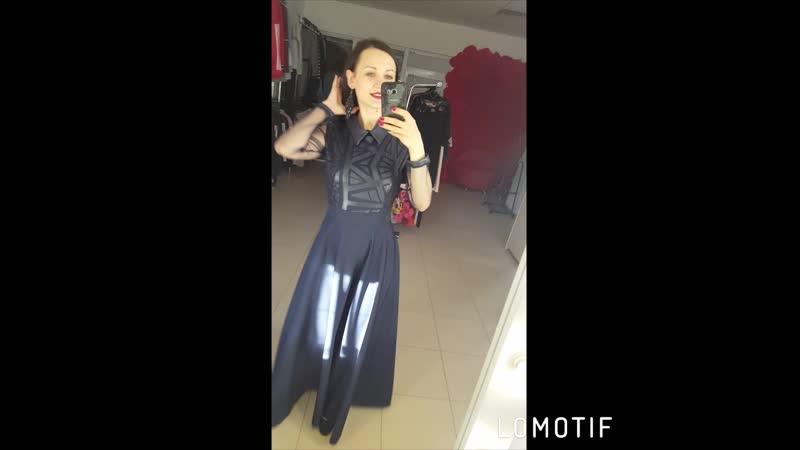 Темно синее платье с воротничком