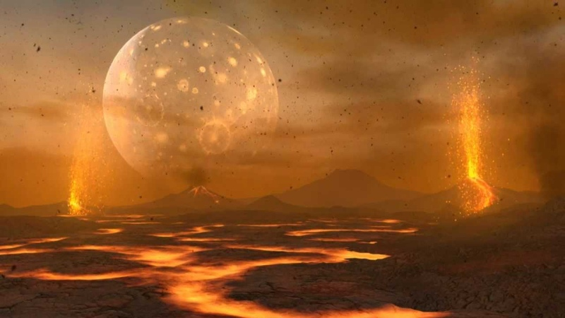 Animation of the Primordial Earth and Moon