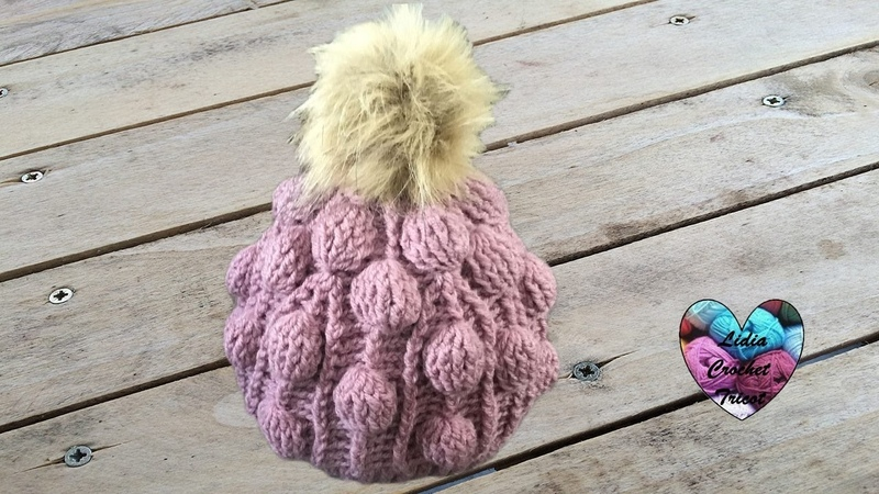 Bonnet crochet relief boules splendide Beanie (cap, hat) bubble stitch (english subtitles)