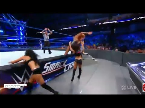 Becky Lynch gives a crossbody to Peyton Royce SMACKDOWN LIVE:19/6/18