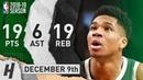 Giannis Antetokounmpo Full Highlights Bucks vs Raptors 2018.12.09 - 19 Pts, 6 Ast, 19 Rebounds!