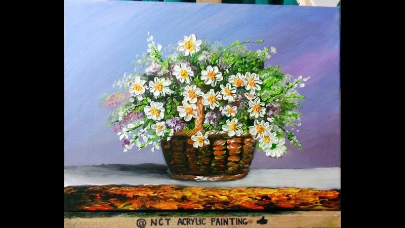 How To Paint Flowers With Acrylic - Vẽ Lọ Hoa Bằng Acrylic - NCT Acrylic Painting 2