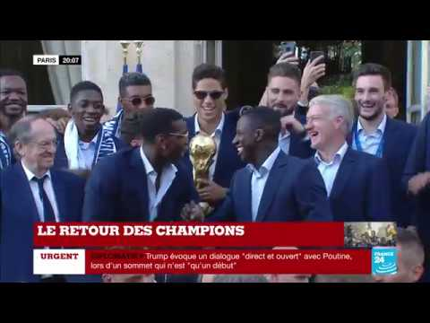 Unbelievable scenes outside the French presidential palace as Paul Pogba breaks out with the now famous N'Golo Kanté chant