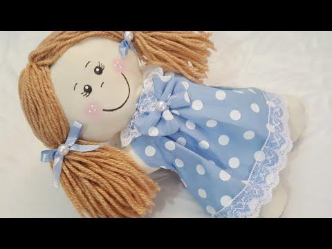 Bonequinha de pano sem máquina de custura feita a mão com molde artesanato e decoração