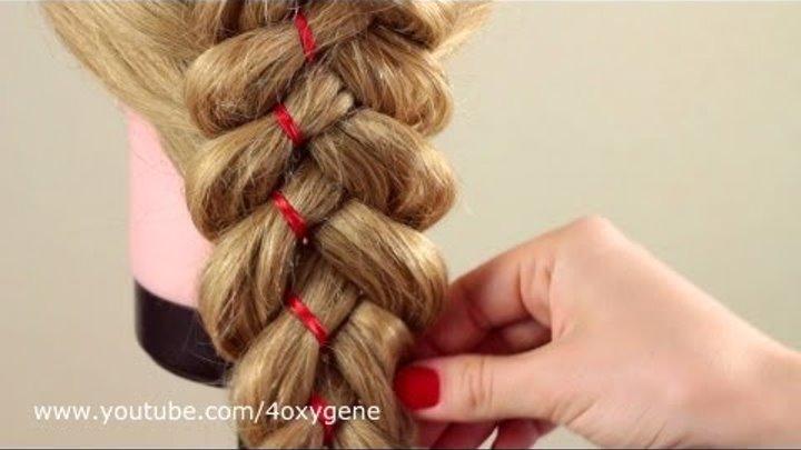 Коса из 5 прядей с лентой. Braid of five strands with ribbon