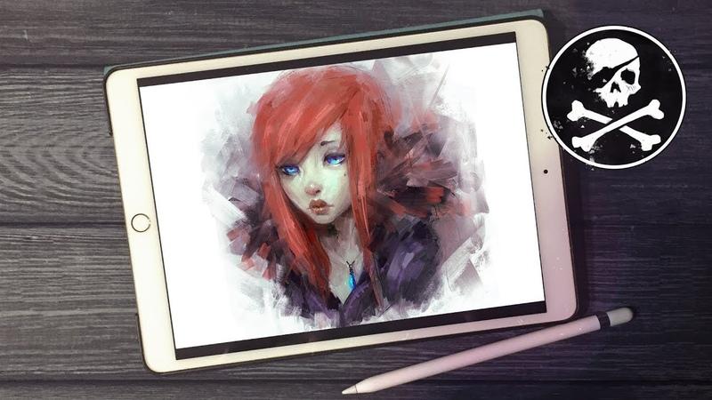 RED HAIR GIRL ● iPad Digital Painting ● Procreate ● Paintstorm Studio [ Sephiroth Art ]