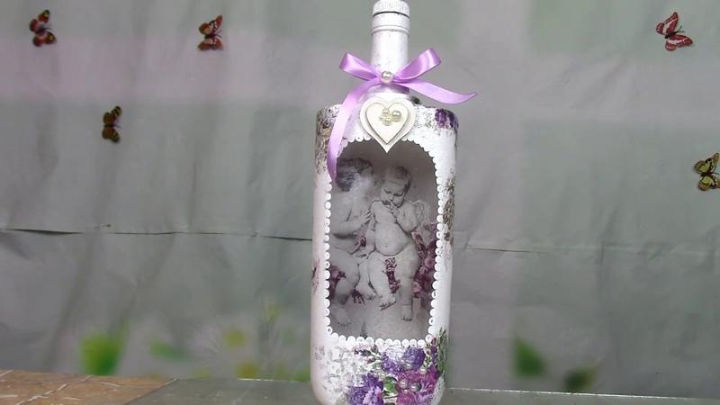 Бутылка с ангелами/Bottle with angels.The method of reverse decoupage. ХоббиМаркет