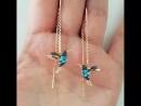 Золотые серьги колибри