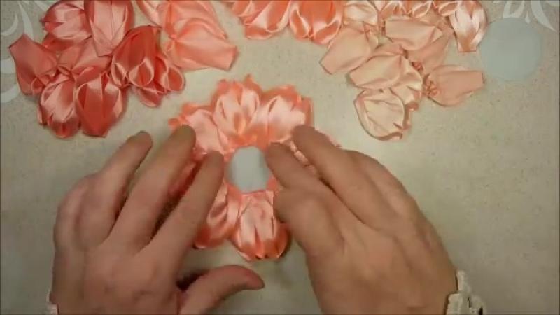 Красивые цветы канзаши из ленты 5 см, мк DIY satin ribbon fl