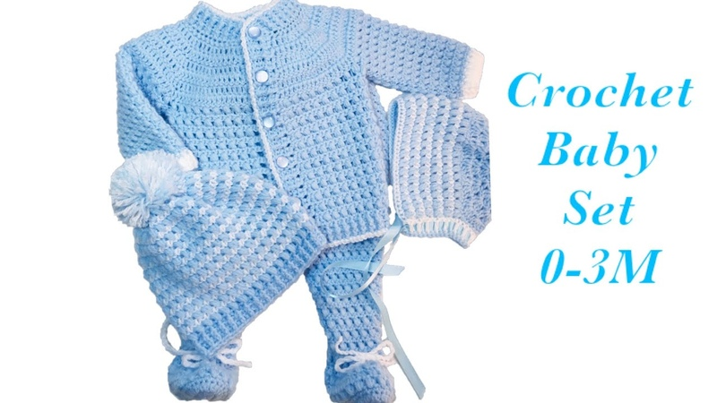 Baby Boy Set How to crochet newborn bean stitch sweater jacket | cardigan 0-6M Crochet for Baby171