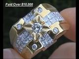 $14,995 Men's Diamond &amp 18kt Gold Ring - Top Quality VSF Diamonds - Size 10