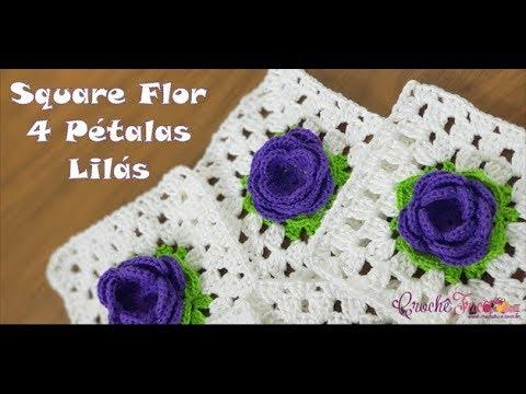 Square Flor 4 Pétalas Lilás em Crochê - Destras - Prof. Ivy (Crochê Tricô)