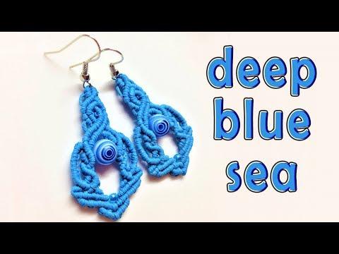 Macrame tutorial earrings: The deep blue sea pattern - Hướng dẫn thắt dây làm hoa tai