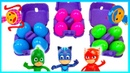 Learn colors with PJ masks. kinder surprise eggs unboxing toys magformers playset PlayClayTV