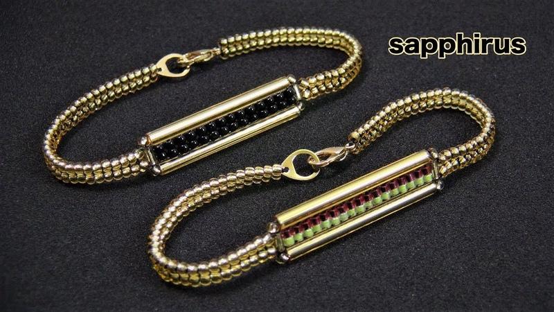 【ハンドメイド】ロング竹ビーズで編むブレスレットの作り方☆How to make a bracelet w