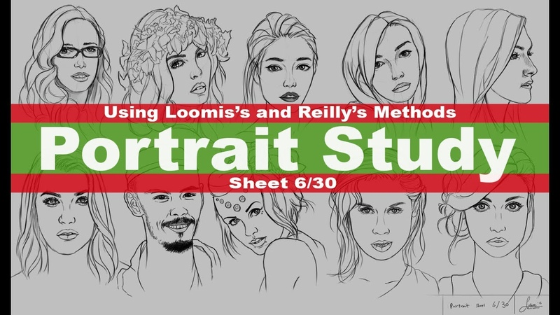 Portrait Drawing - Using Andrew Loomis's and Frank Reilly's Methods - sheet 6/30