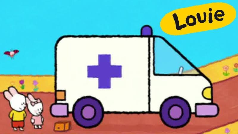 Louie, draw me an ambulance | Learn to draw cartoon for kids