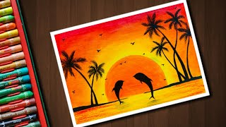 Dolphin Sunset scenery drawing with Oil Pastels for beginners - step by step