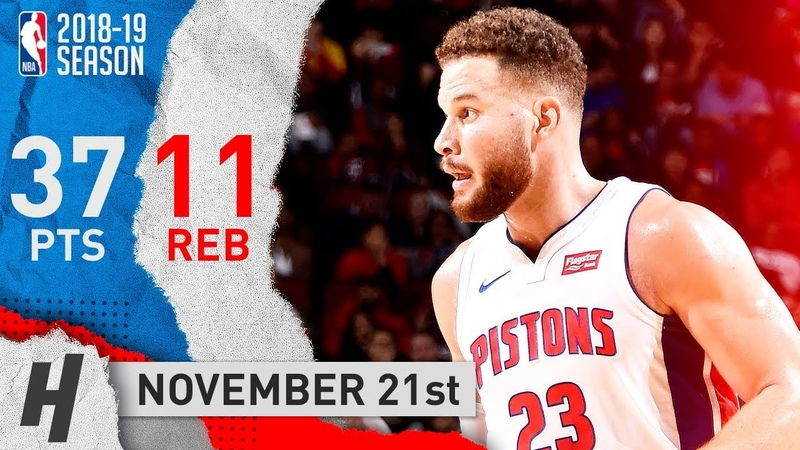 Blake Griffin Full Highlights Pistons vs Rockets 2018.11.21 - 37 Points, 11 Reb