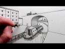 Как рисовать мост и узкую лодку в перспективе