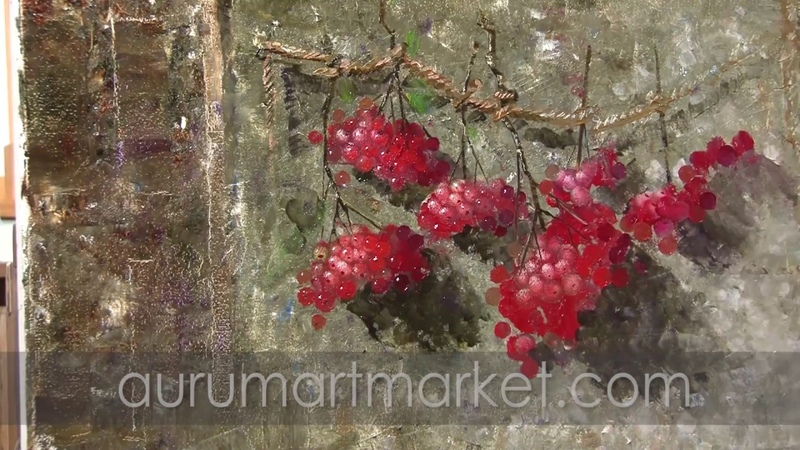 Видео урок живописи Алые гроздья рябины