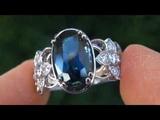 TOP GRADE 4.43 Carat Sapphire &amp Diamond Ring - 20 Diamonds - Solid 18K Gold