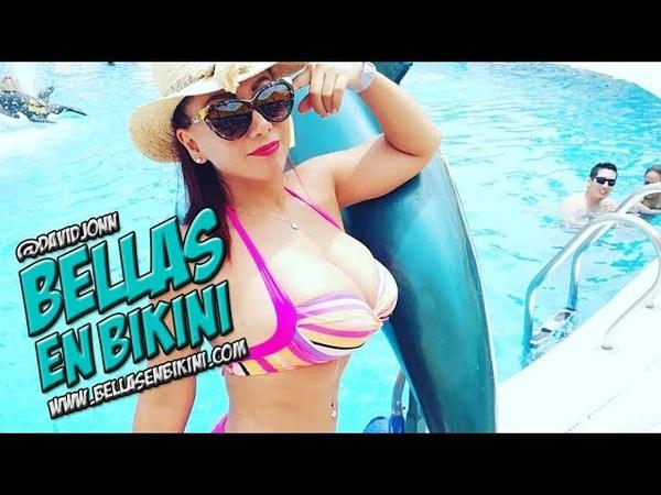 Deysi Araujo en bikini rosado en directo