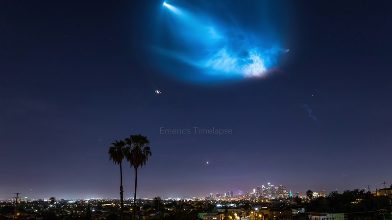 Space X Falcon 9 Timelapse Above Downtown Los Angeles in 4K - October 7th 2018