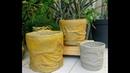 Vaso de tecido e cimento reciclado balde mega fácil de fazer (se inscreva no canal 🙏😘)