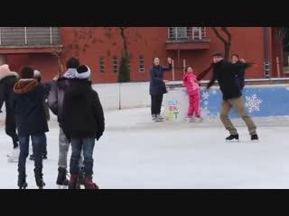 Old Man Ice Skating Prank, Grandfather ice skater prank, Backflip on ice