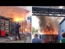 Первое видео с места пожара после взрыва на территории завода Рубин
